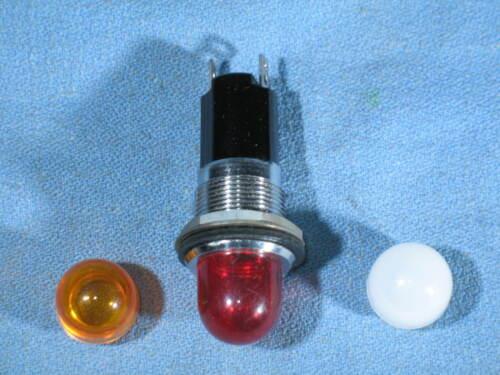 """DIALCO 11/16"""" Panel Mount Pilot Indicator Bulb Socket 75W 125V & 3 Lens - NEW"""