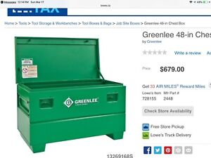 "Greenlee 48"" chest tool box on casters"