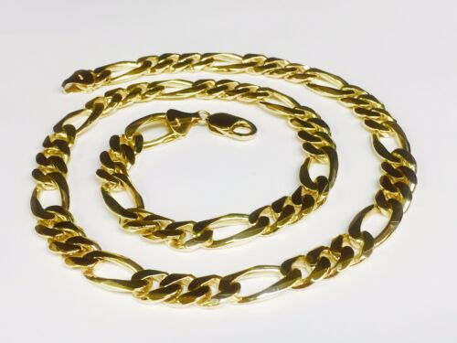 "10k Solid Gold Handmade Figaro Curb Link Mens Chain/necklace 26"" 135 Grams 12 Mm"