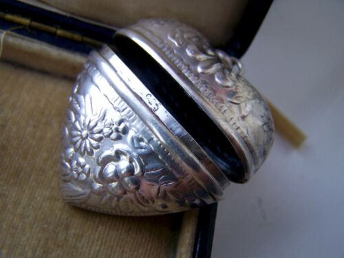 VINTAGE STERLING SILVER HEART CHATELAINE SEWING BOX PENDANT PILLBOX LOCKET