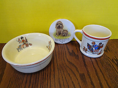 C. P. & Co. Bowl and Cup w Children Girl Umbrela Rare 1930's ~FAST S/H~