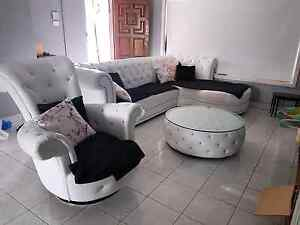 Luxury Leather Diamante Lounge set Mount Lewis Bankstown Area Preview