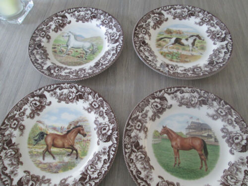 """SPODE WOODLAND HORSES SET OF 4 DINNER PLATES 10.5"""" NEW PAINT HORSE THOROUGHBRED+"""