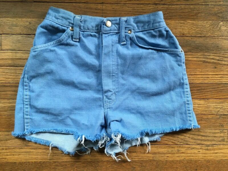 Vtg Girls Juniors Distressed High Waist Blue Wrangler Denim Jean Cut Off Shorts