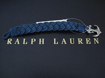 NEW RALPH LAUREN Polo Men's Braided Anchor Wristband Strap Bracelet Indigo Rope