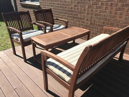Outdoor bench, chairs and coffee table