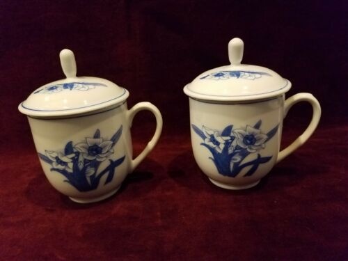 Liling China Set of 2 Lidded Cups Blue and White VG