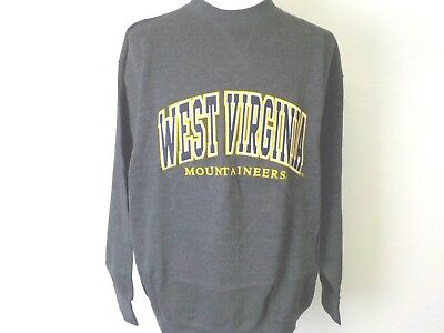 WEST VIRGINIA MOUNTAINEERS ADULT GREY EMBROIDERED V-NOTCH CREW SWEATSHIRT NEW