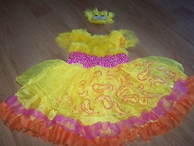 Toddler Size 3-4T Sesame Street Frilly Big Bird Costume Dress & Hair Piece EUC