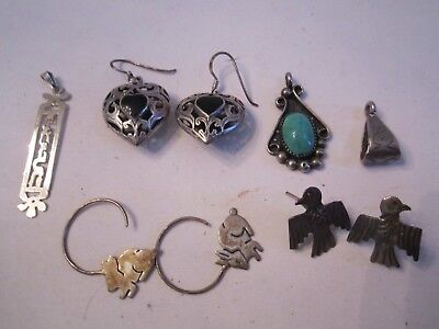 3 PAIRS OF STERLING SILVER EARRINGS & PENDANTS - ALL STERLING - TUB MMMM2