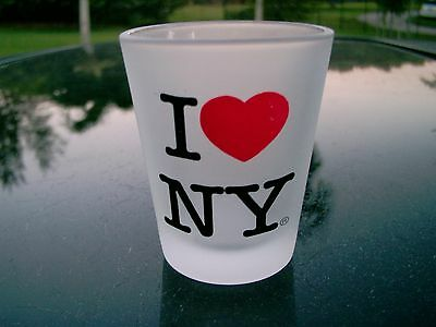 I LOVE NY FROSTED SHOT GLASS NICE SOUVENIR SEE PHOTOS CLEARANCE PRICE