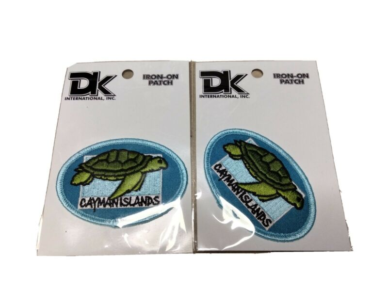 VTG DK International Cayman Islands Sea Turtles iron on Patch Lot Of Two