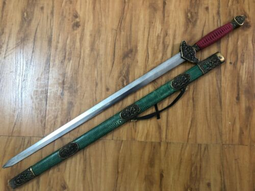 "Collectable Handmade Dragon ""Jian"" Sword Sharp Folded pattern steel blade"