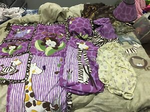 purple and black amazon crib set