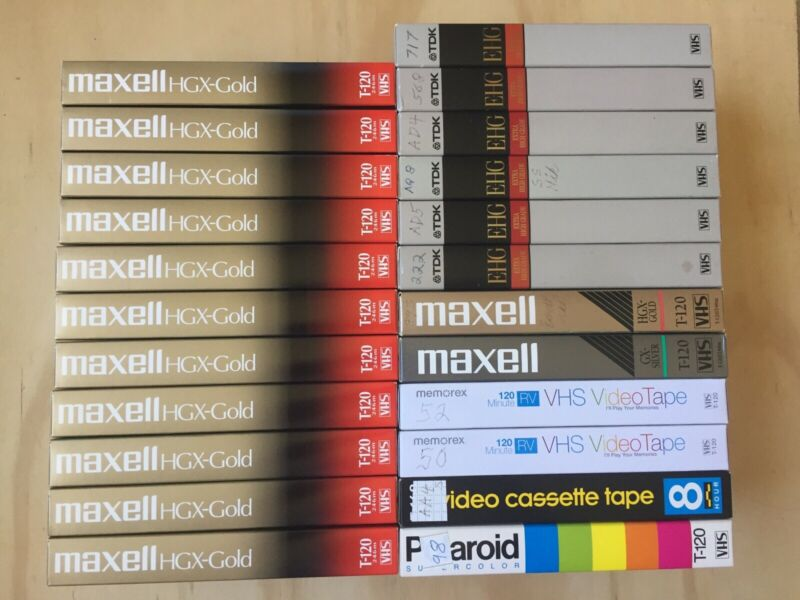 VHS Lot (23) Pre Recorded Movies Sold as Blanks Maxell HGX-Gold TDK EHG more (d)