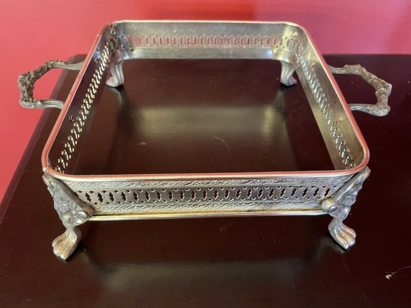 Silver Plate Footed Casserole Dish STAND with Decorative Handles Silverplate
