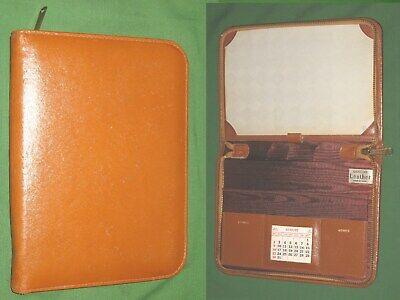 Vintage Portable Desk W Calendar Note Pad Brown Leather Planner Binder