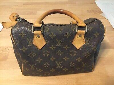Authentic Louis Vuitton Brown Monogram Canvas Leather Speedy 30 Bag Vintage