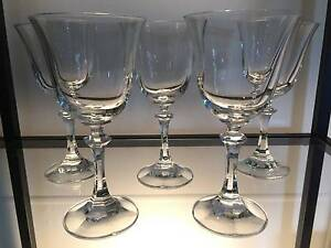 5x vintage crystal wine glasses. 16.5cmH, 8cmD lip. No chips Annerley Brisbane South West Preview