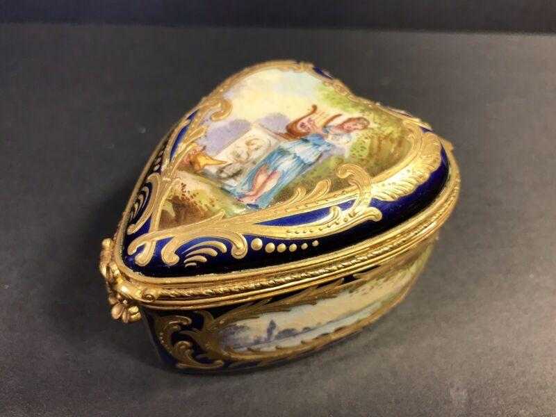 Antique Sevres Porcelain Hinged Box/ Heart Shape/3 Miniatures/France C.1850