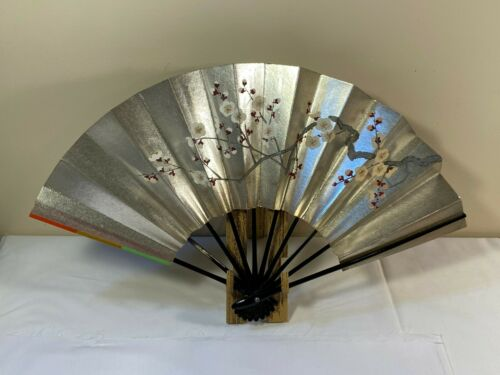 Japanese Odori Dance Sensu Folding Fan swan rose art Made in Japan