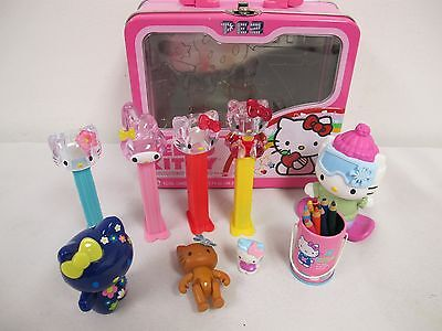 Hello Kitty Pail (HELLO KITTY LOT  FIGURES PEZ DISPENSERS METAL CASE PAIL COLORED PENCILS)