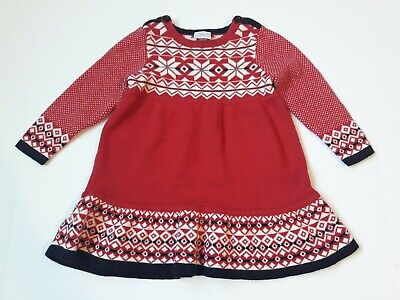 Hanna Andersson Fair Isle Sweater Dress size 80 (24 month) red Christmas Holiday