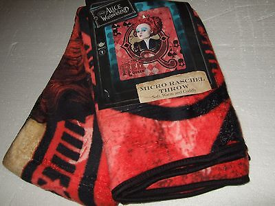Alice In Wonderland Evil Red Queen Plush Fleece Throw Blanket Disney Tim Burton