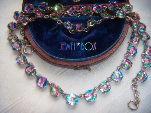 ART DECO RARE  IRIS Open Back Bezel Set Paste Crystal Vintage RIVIERE NECKLACE