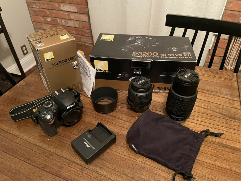Nikon D3200 24.2 MP Digital SLR Camera with 18-55mm and 55-200mm Lens Kit