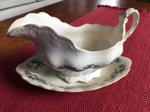 Antique Buffalo Pottery Vassar Semi-Vitreous Gravy Boat and Dish