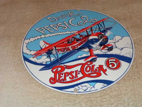 "VINTAGE DRINK PEPSI COLA AIRPLANE! 5 CENTS 10"" PORCELAIN METAL SODA POP GAS SIGN"