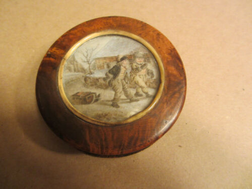 1800s NEW ENGLAND WINTER SLED SCENE PAINTING - WOOD & TORTOISE TOBACCO SNUFF BOX
