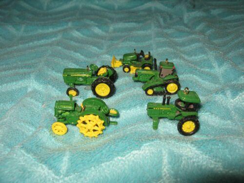 Set 5 Mini John Deere Tractor Christmas Tree Ornaments Figure