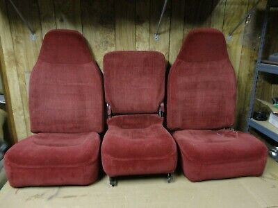 92-96 97 Ford Pickup Truck Front Bucket Jump Seats Console 40/20/40 Red