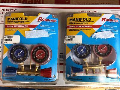 Robinair 41670 R410a Redblue Gauge High Pressure Brass Manifold Set- Brand New