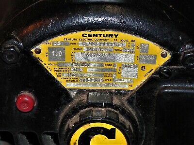 Century 1 Hp 58 Shaft Electric Motor 115230 3450 Rpm N56h Frame Runs Great