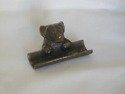 Business Card Holder Dog Desktop Heavy Cast Gun Metal Gray