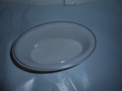 RARE VTG OVAL RIBBED PINK/WHITE MILK GLASS BIRD CAGE BATH PET WATER DISH BOWL
