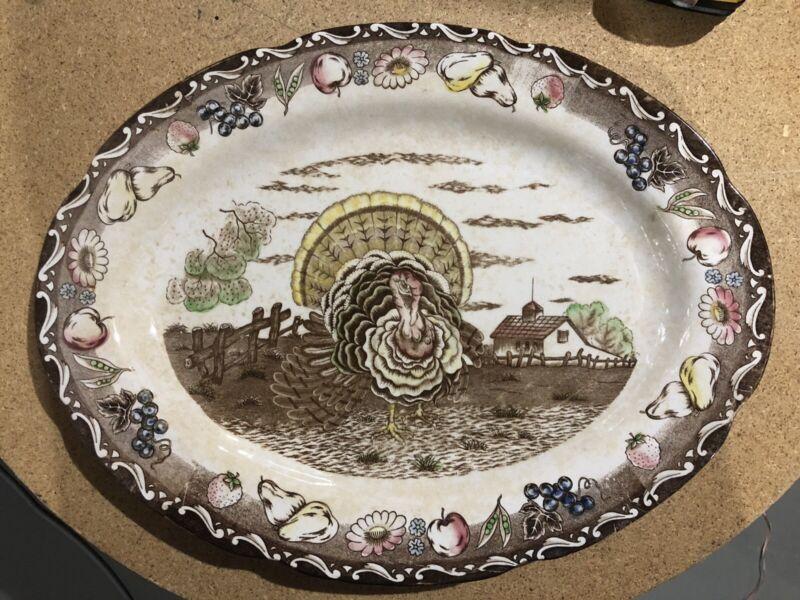 Vintage Thanksgiving Turkey Platter Royal Sealy Japan Iron Stone Hand Painted