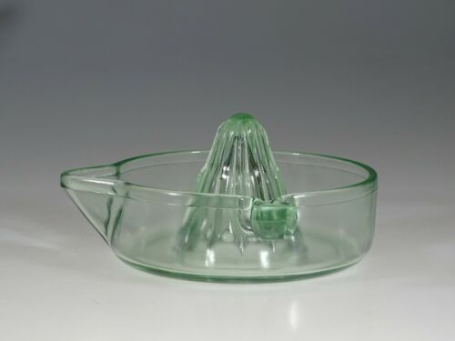 Vintage Tufglas Green Glass Juice Reamer Embossed c.1930