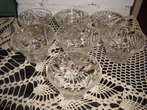 EARLY AMERICAN PRESCUT CLEAR GLASS CUSTARD CUPS OATMEAL LOT OF 7