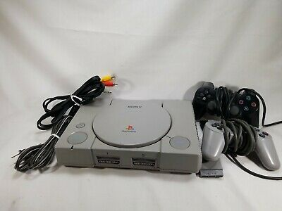 Sony PlayStation 1  Gray Console With 2 Control/ Wire Connection  Playstation 2 Connections