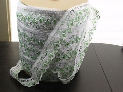 """Closeout Bolt Lace 1 1/4"""" White & Green Medium Softness 50 Yards for sale  Shipping to India"""