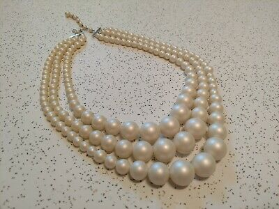 1950s Jewelry Styles and History 1950's Triple Strand Bead Necklace Signed JAPAN Chunky Faux Pearl 19