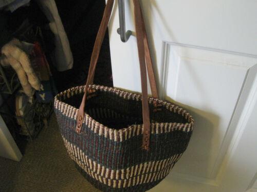 Authentic Kenya Hand-Woven Kiondo Sisal & Leather Shoulder Purse / Bag