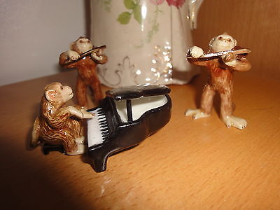 Vintage China Monkey Figurines - Musical Band Fiddle with Piano