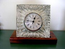 WATERFORD 5 square block crystal desk mantle clock walnut base signed