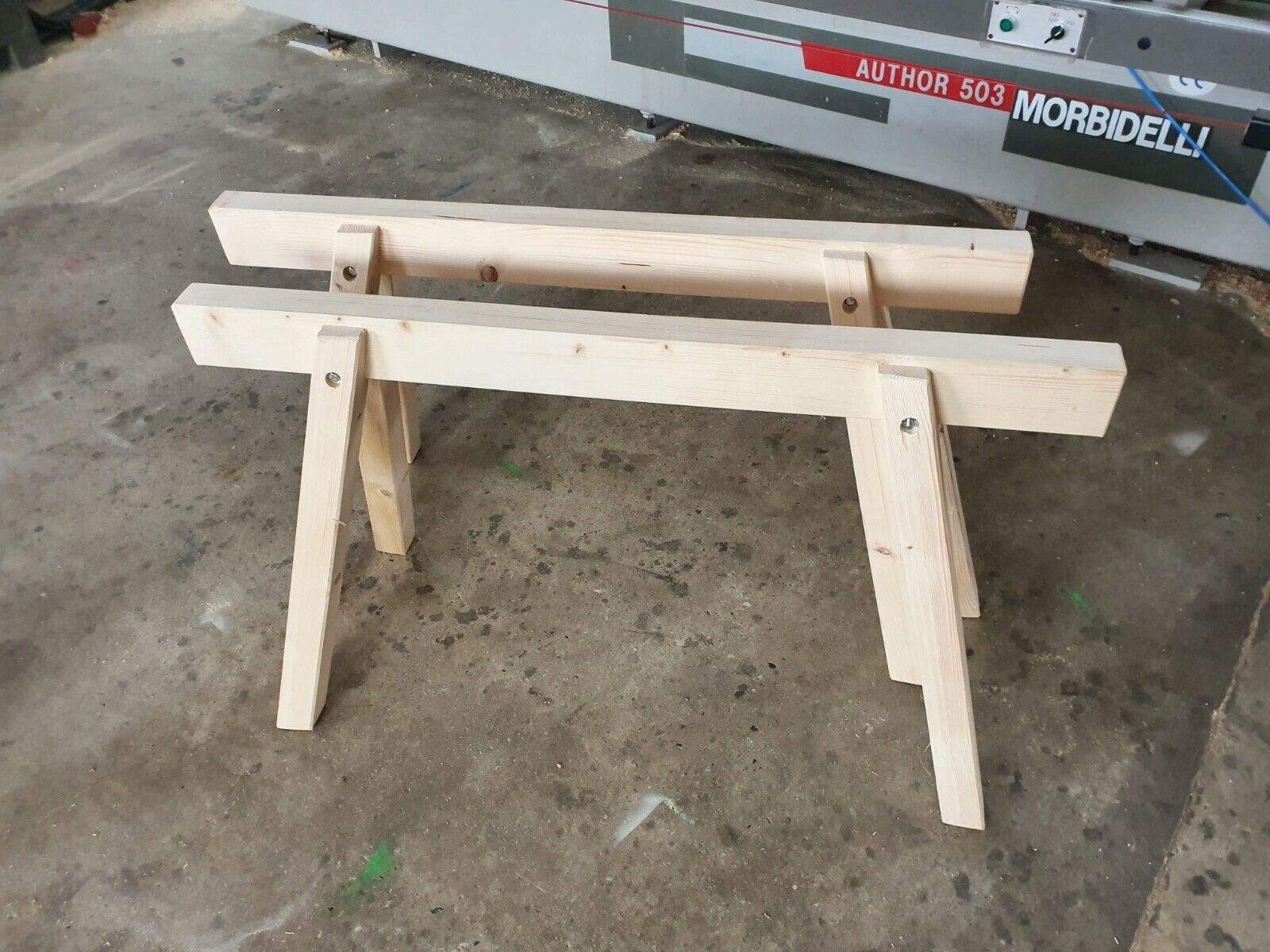 Montagebock,Böcke 2 neue Lagerböcke holz mit Edelstahl Holzböcke Arbeitsböcke