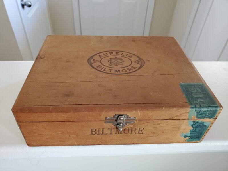 Vintage Wooden Cigar Box Aurelia Biltmore Extra Mild Claro Factory No. 70